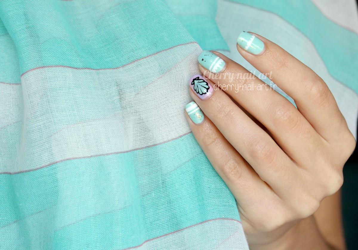 nail-art-facile-coquillage-sirène-vernis-paillettes