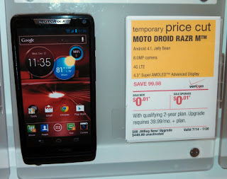 Store display for free Droid RAZR M cell phone
