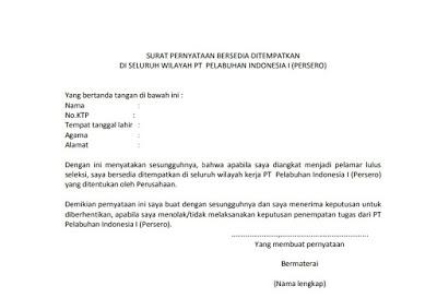 Contoh Lengkap Surat Pernyataan Bersedia Ditempatkan Di Mana Saja .Docx