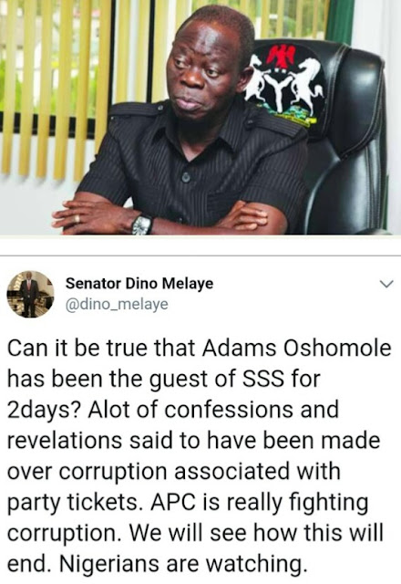 Dino Melaye Reacts To Oshiomhole's Arrest By DSS