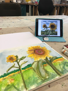 colorful sunflowers watercolor