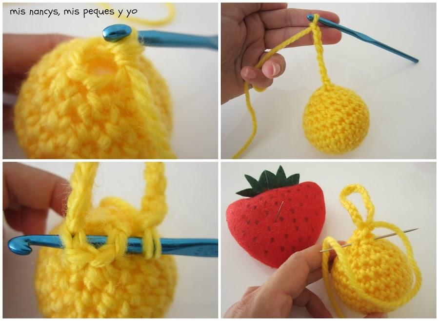 mis nancys, mis peques y yo, guirnalda con bolas de crochet, colgante con cadeneta
