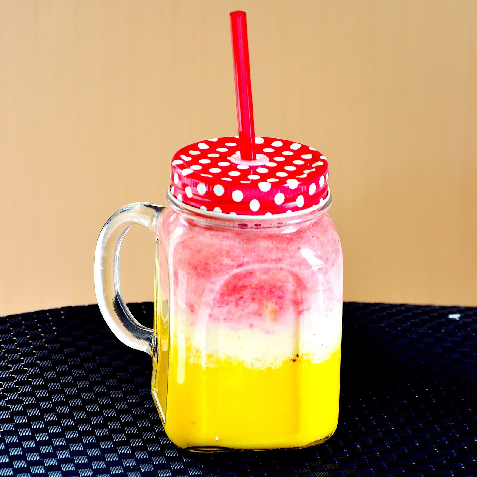 Strawberry Mango Lassi Smoothie.