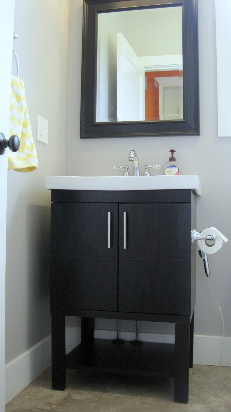 i married a tree hugger cheery yellow and grey bathroom. Black Bedroom Furniture Sets. Home Design Ideas