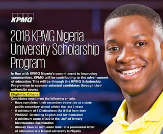 2018 KPMG Nigeria University Scholarship for Sec. School Leavers