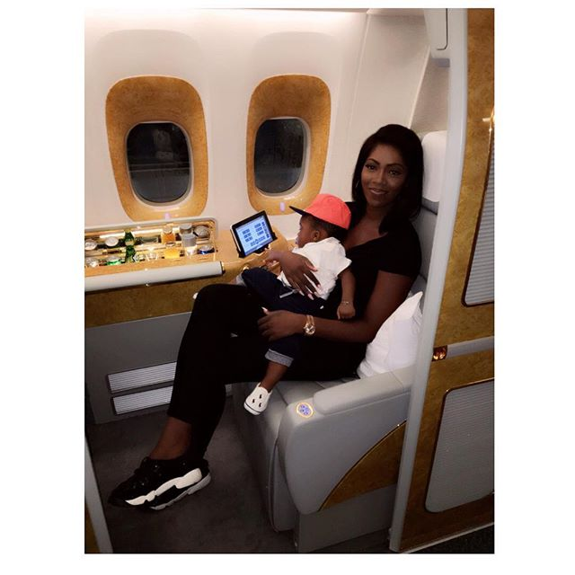 Photo: Tiwa Savage & baby Jamil fly off to Dubai in style