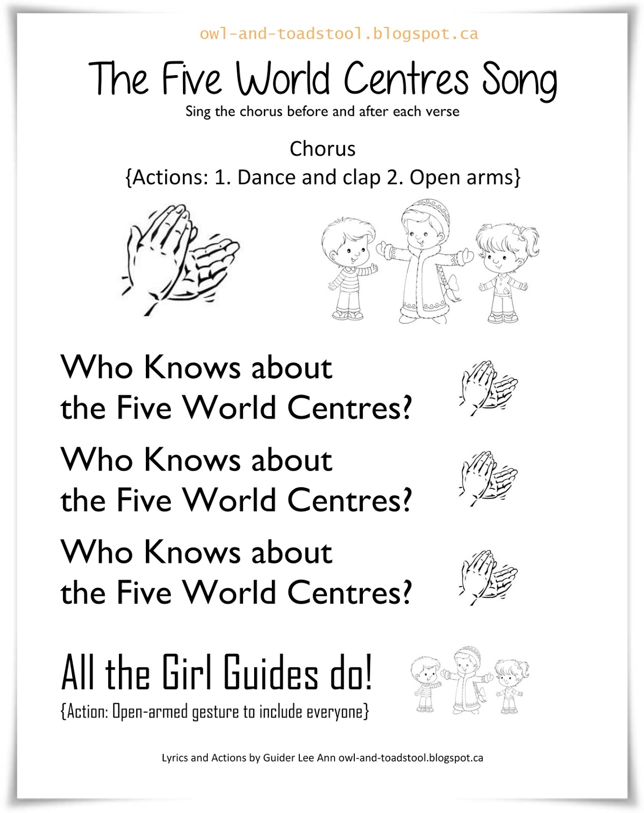 The Five World Centres Song