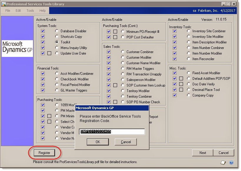 Dynamics GP Land: Installing missing Professional Services Tools