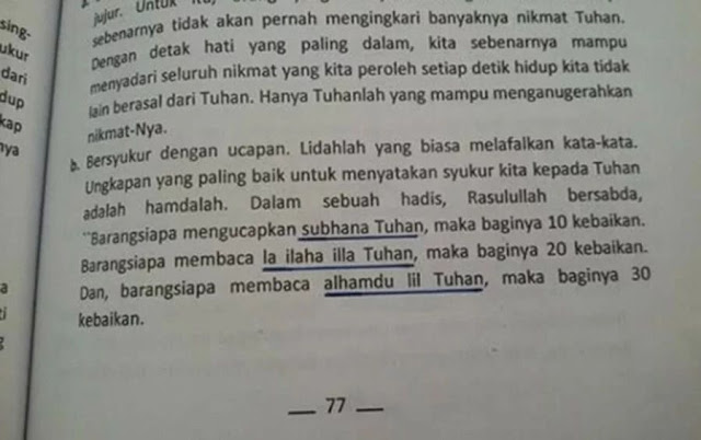 Heboh, 'Laa ilaha illallah' Diganti 'Laa ilaha illa Tuhan' di Buku BK Untuk SMP-MTs