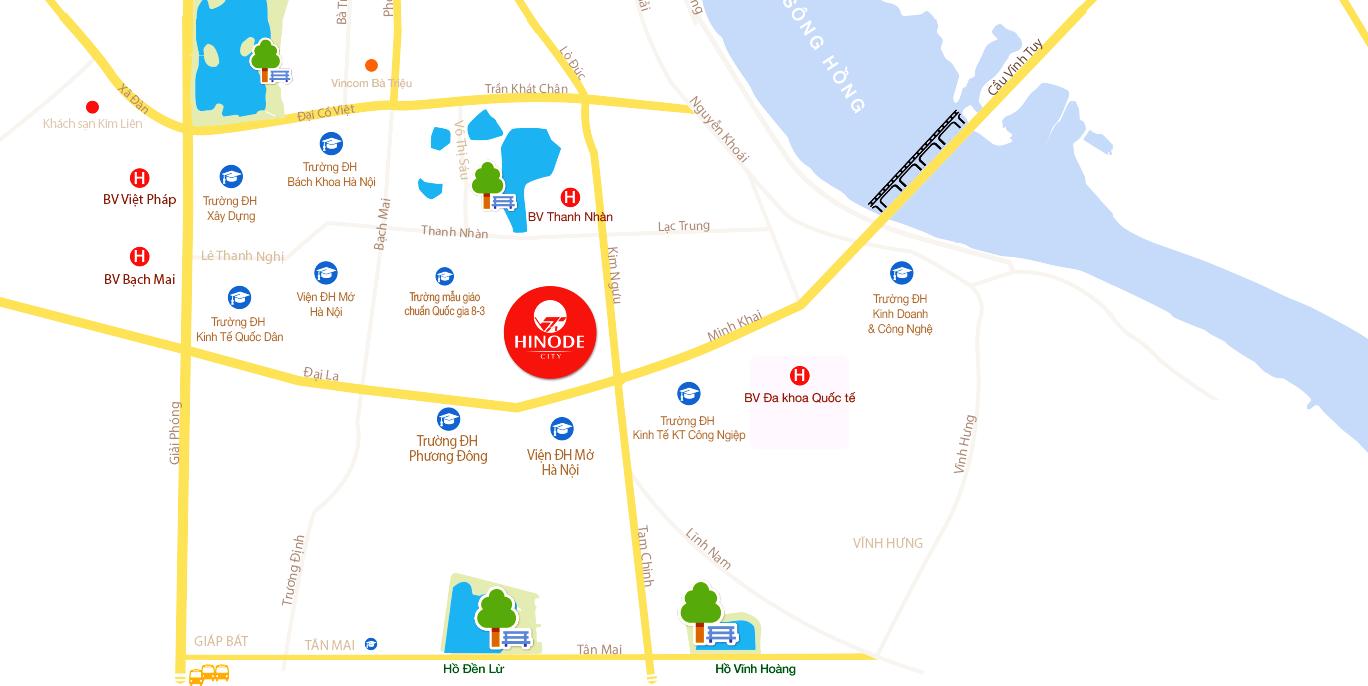 Vị trí đắc địa của dự án Hinode City Minh Khai