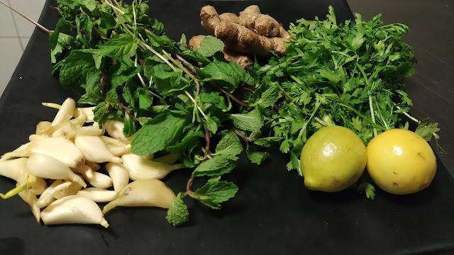 Mint leafs Ginger garlic lemon food recipe dinner ideas