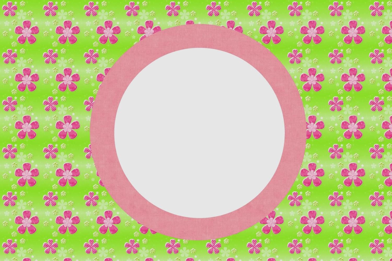Flores Rosa En Fondo Verde Tarjetas O Invitaciones Para
