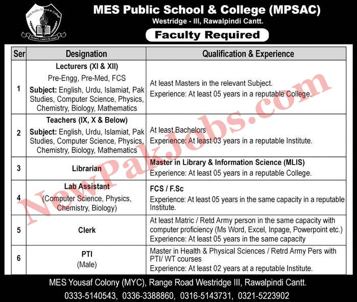 MES Public School & College Jobs for Teachers, Lecturers
