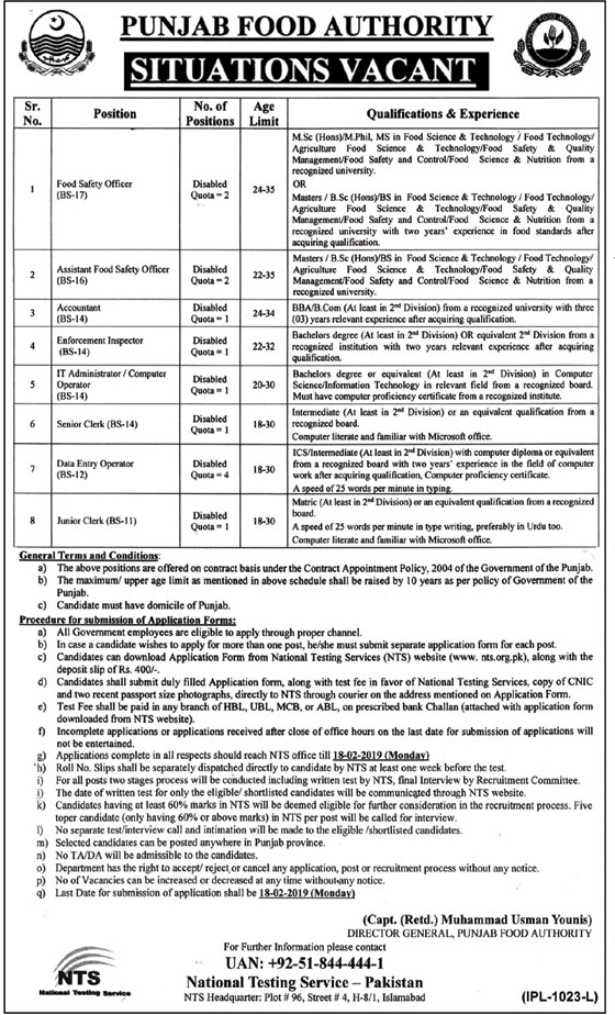 Punjab Food Authority New Jobs 2019 By Govt Of Punjab | Download application Form