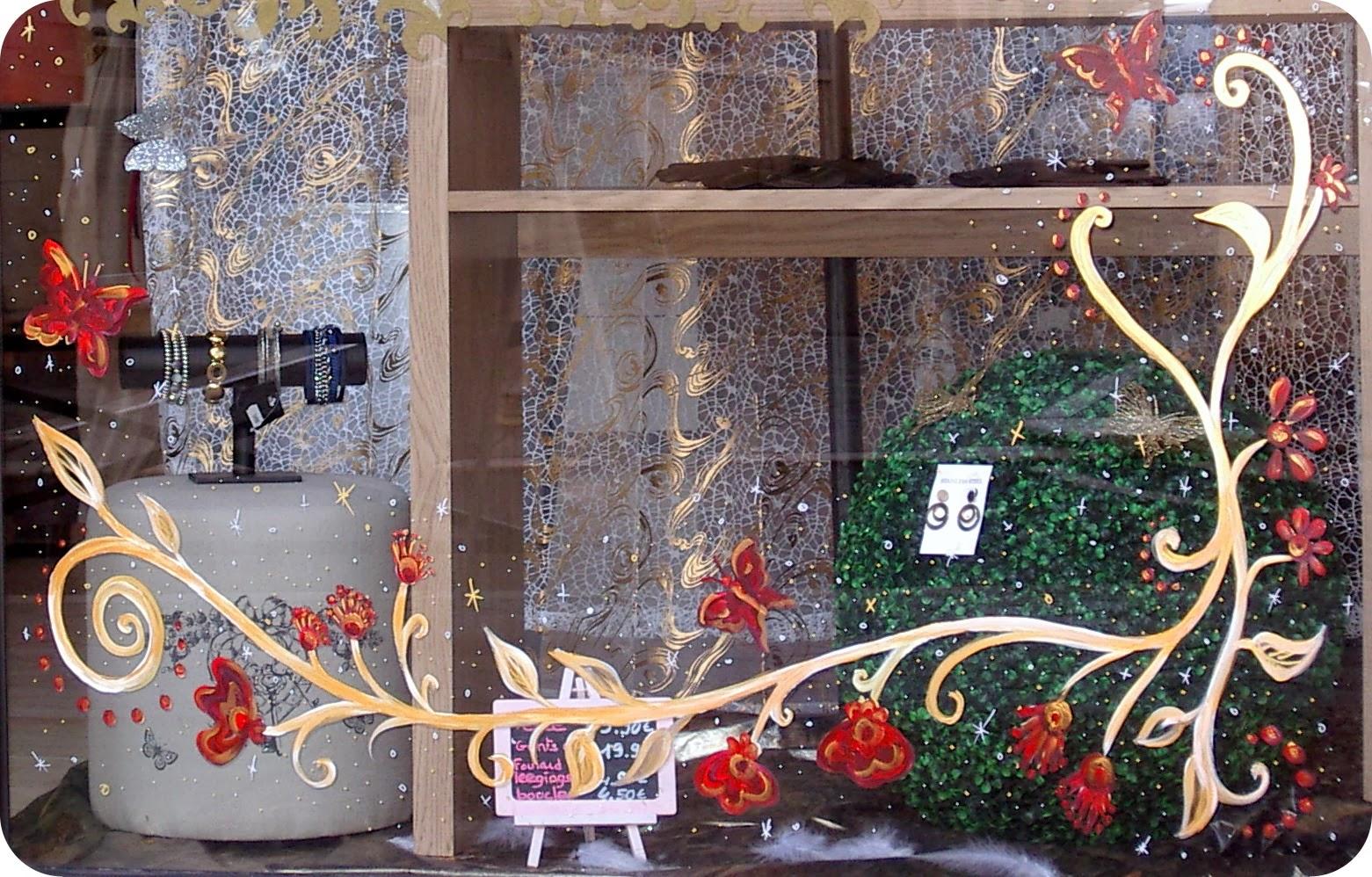 micka lle delam d cors peints sur vitrines pour no l. Black Bedroom Furniture Sets. Home Design Ideas