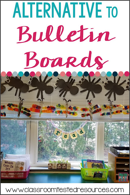 Are you sick of trying to hang bulletin board paper without creases and so it looks right? Try this alternative bulletin board to save yourself the headache and time!!