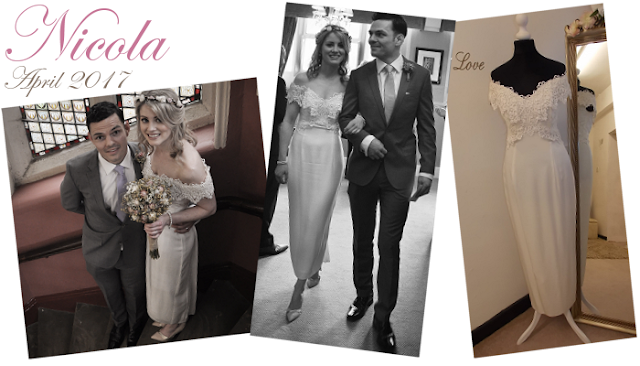 Nicola a beautiful vintage lane manchester bride is wearing a stunning lace off the shoulder wedding dress