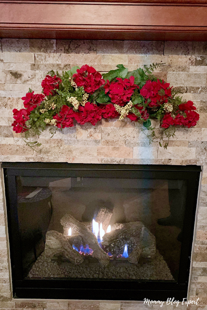 Red Geranium Swag for Holiday Fireplace Decor