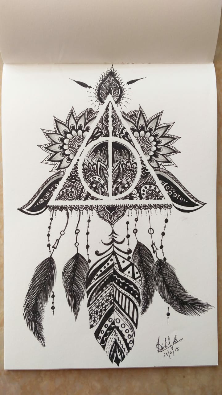 4c0387083b Aliexpress Exquisite Style Deathly Hallows Doodle