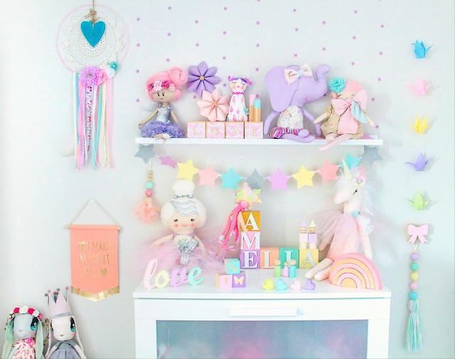 Pastel girls bedroom decor