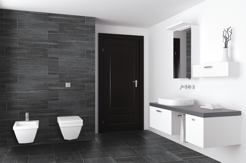 The Antracite Color Is Used To Create A Modern Black And White Bathroom Opposites Attract Look How Beautifully This Dark Tile Works In E