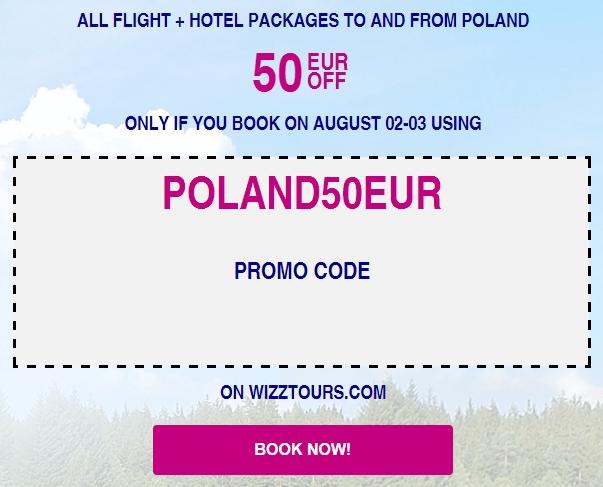 Wizz Air 50 EUR ОТСТЪПКА за всички полети + хотелски пакети от / до Полша