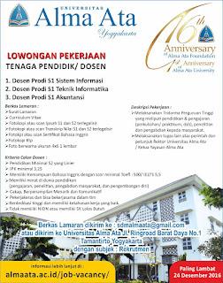 Lowongan Dosen Universitas Alma Ata Yogyakarta