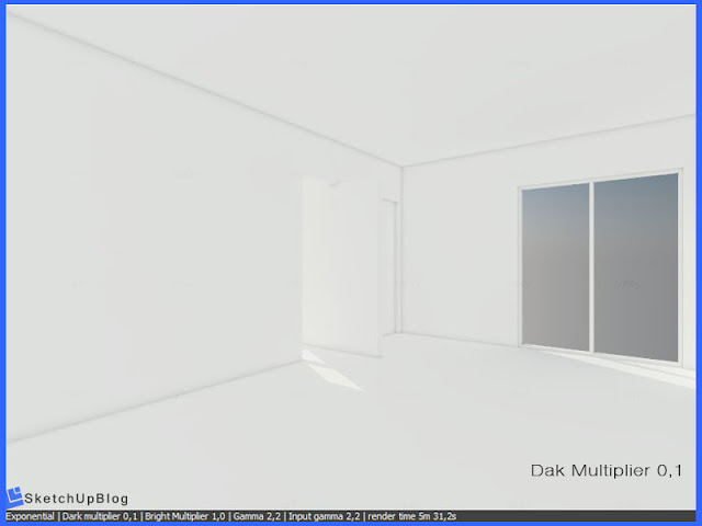 Cara Setting Exponential Color Mapping vray sketchup 2.0 - Dark Multiplier 0,1