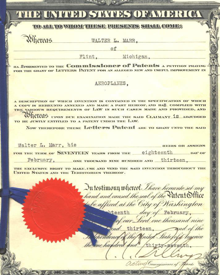 All Things Buick Walter Marr Patents - Patent certificate template