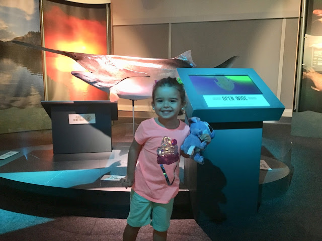 Toddler hugging her stuffed animal stands smiling in front of a large fish
