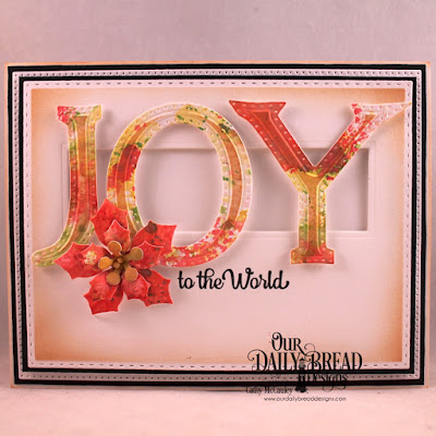 Stamp/Die Duos: Great Joy  Custom Dies: Pierced Rectangles, Double Stitched Rectangles, Tri-Shutter Layers, Large Alphabet Bundle, Peaceful Poinsettia
