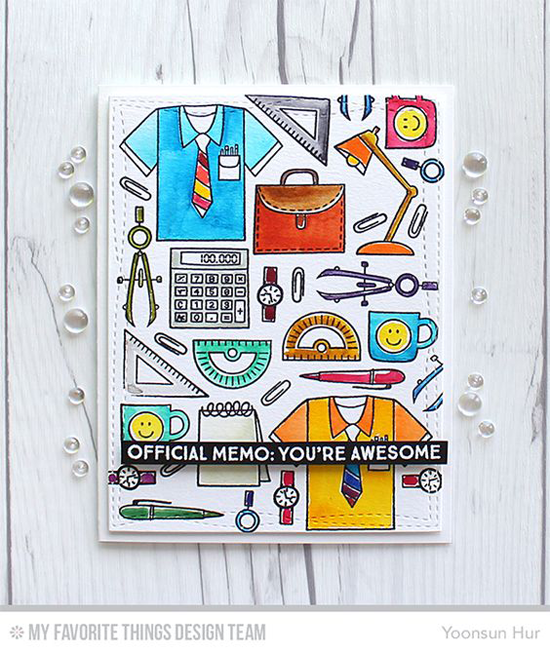 Handmade card from Yoonsun Hur featuring Get Down to Business stamp set and Die-namics, Wonky Stitched Rectangle STAX Die-namics #mftstamps