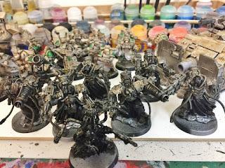 painting WIP Myrmidon squad 30k Heresy