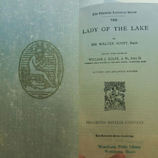 Cover and first page of Sir Walter Scott's romantic poem The Lady of the Lake.