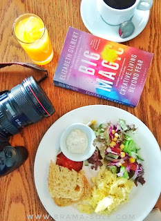 big magic book and healthy food