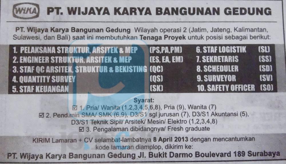 Lowongan Kerja Di Siantar Lowongan Kerja Terbaru Di Medan Tahun 2016 Lowongan Bumn Lulusan Sma Smk Maret 2013 Pt Wika Gedung