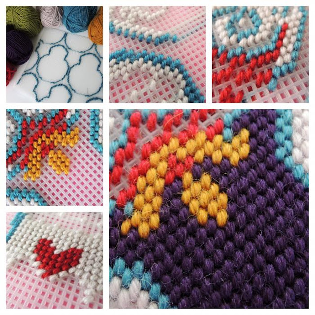 Collage of tent stitches on plastic canvas, building up the motif colour by colour