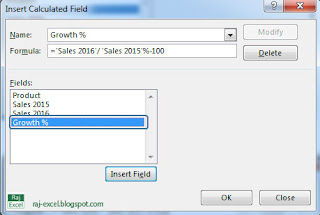 how to add percentage growth in pivot table
