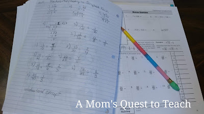 Fractions work from Math Refresher for Adults