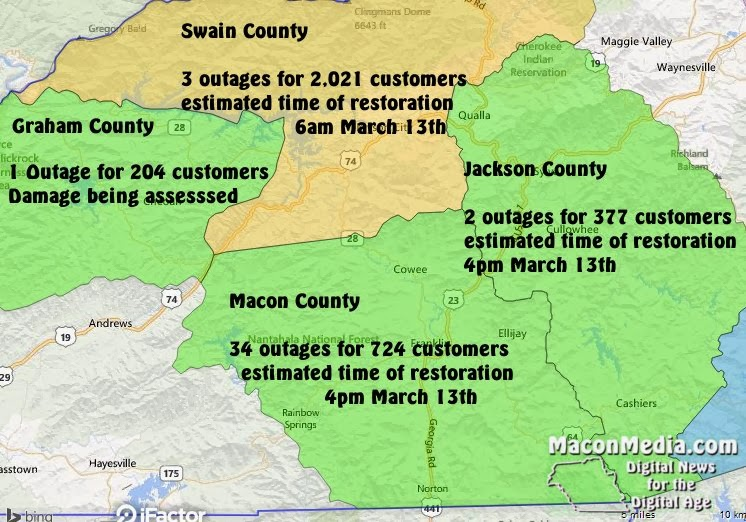 WNC Power Outages for March 13th