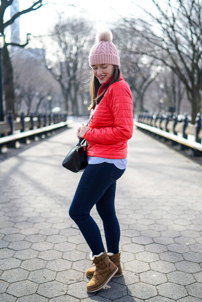 Krista Robertson, Covering the Bases,Travel Blog, NYC Blog, Preppy Blog, Style, Fashion Blog, Travel, Fashion, Style, NYC, Patagonia, Central Park, Winter Jackets, Bright Colored Coats, Warm Clothes