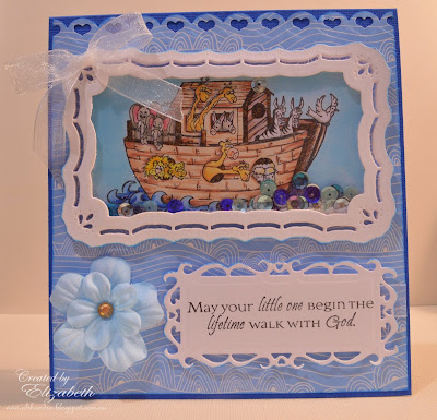 Elizabeth Whisson, Our Daily Bread Designs, ODBD, ODBDDT, baby, Noah's Ark, handmade card, shaker card