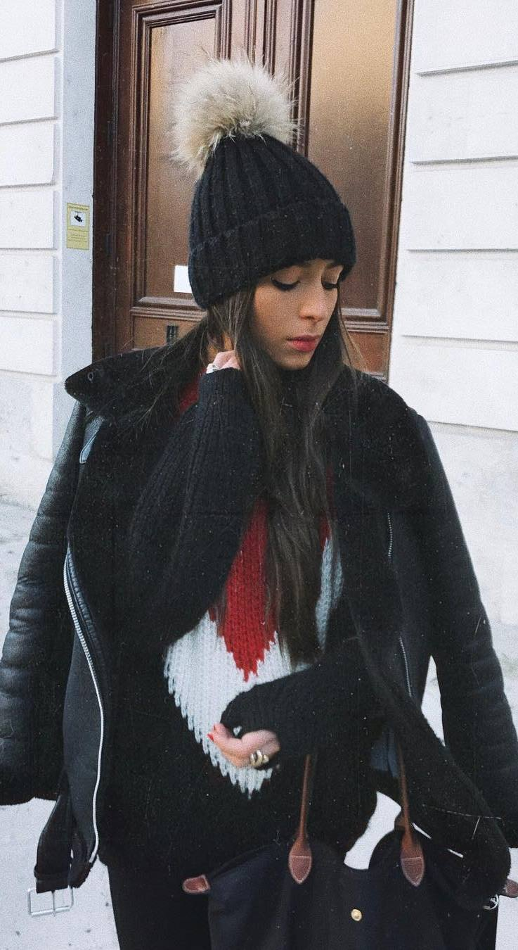 street style addiction / black hat + knit sweater + bag + jacket + skinnies
