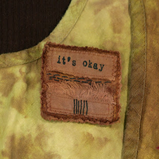 it's okay: hand and machine stitched linen pin brooch from secret lentil