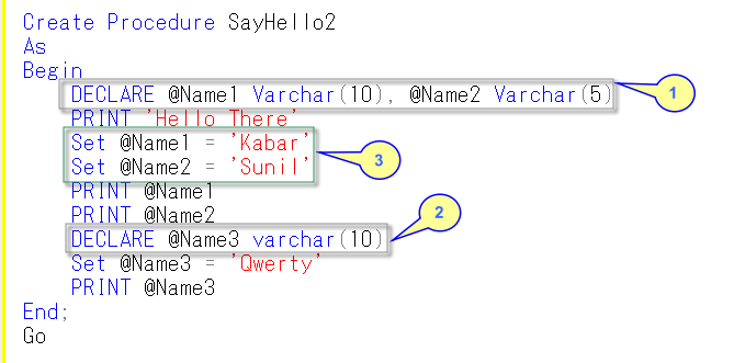 Figure 4: Declaring Variables in Stored Proc.