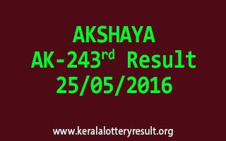 AKSHAYA AK 243 Lottery Result 25-5-2016
