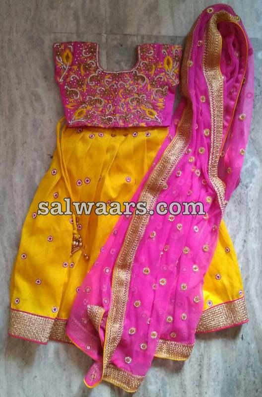 Heavy Work Yellow Pink Lehenga