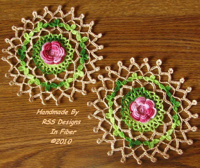 Red Rose Garden Doily Set of 2 - 3D Roses - By RSS Designs In Fiber
