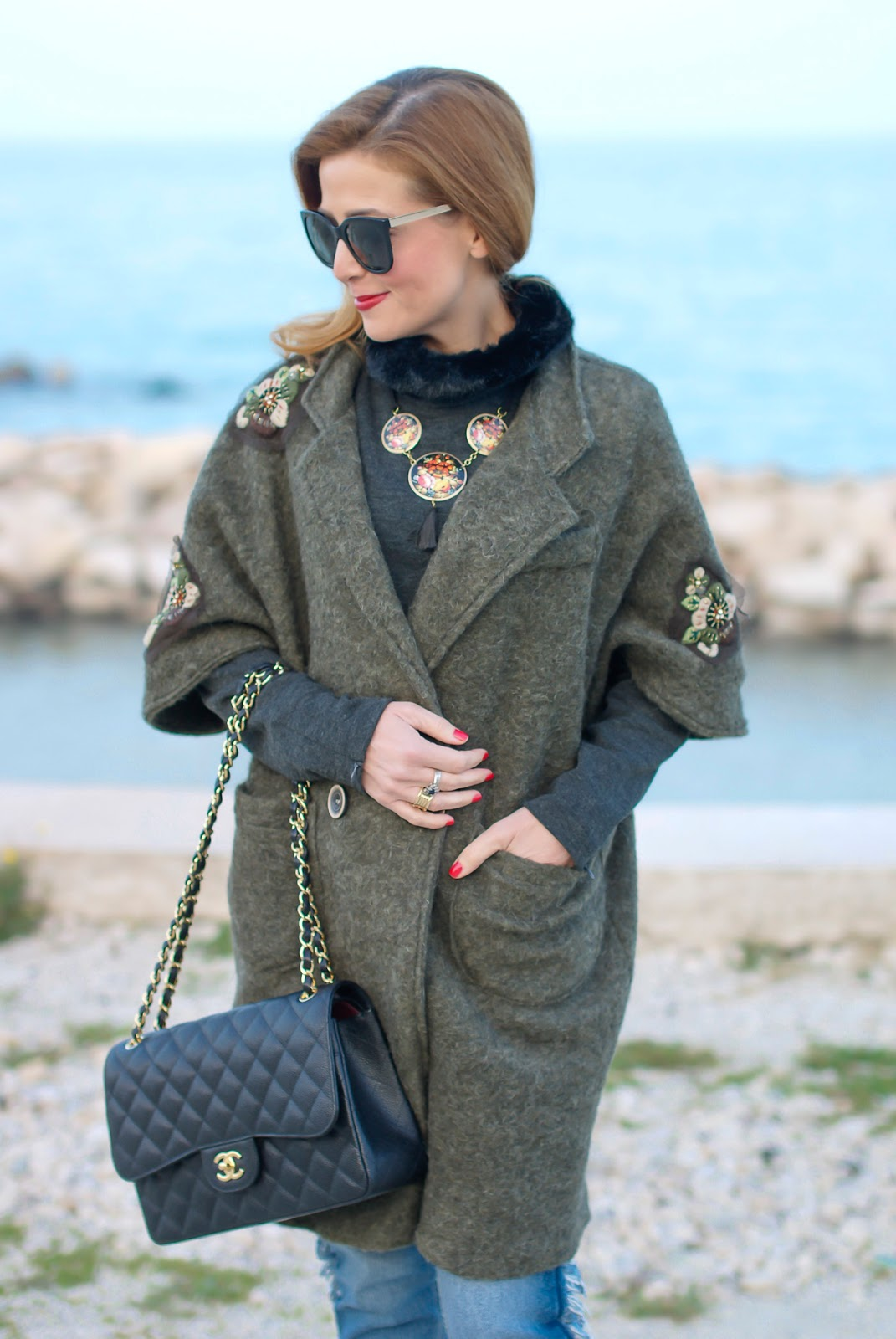 Trendyberry embroidered coat for a street style casual look, Chanel 2.55 flap bag on Fashion and Cookies fashion blog, fashion blogger style