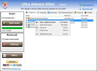 تنزيل برنامج Ultra Adware killer لازالة الفيروسات من الجهاز